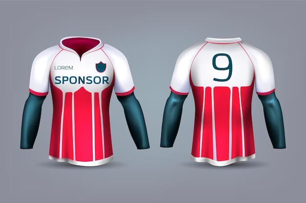 Uniforme de camisa de futebol vermelho e branco Vetor Premium