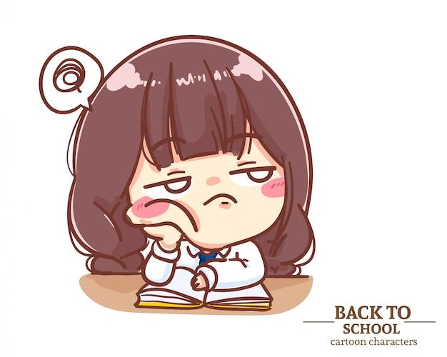 Uniforme de estudante de meninas cansado de ler livro. logotipo da ilustração dos desenhos animados. vetor premium Vetor Premium