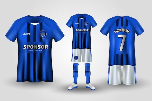Uniforme de futebol azul e branco Vetor Premium