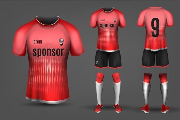 Uniforme de futebol vermelho e preto Vetor Premium