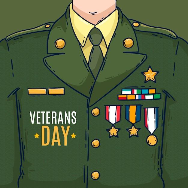 Uniforme do dia dos veteranos de design plano Vetor Premium