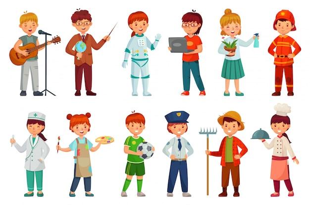 Uniforme profissional de criança, profissões de trabalho de criança e bebê policial cartum conjunto de vetores Vetor Premium