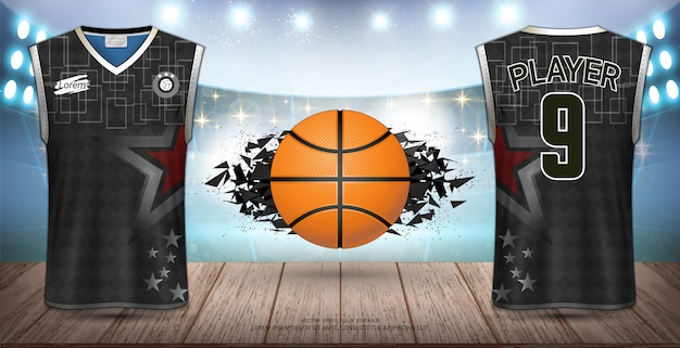 Uniformes de basquete Vetor Premium