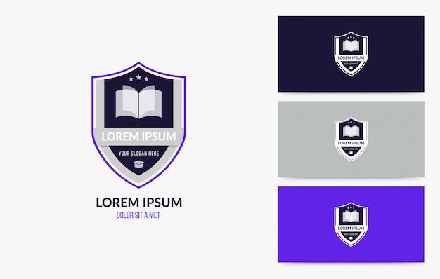 Universidade e faculdade escola conjunto de distintivo de logotipo Vetor Premium