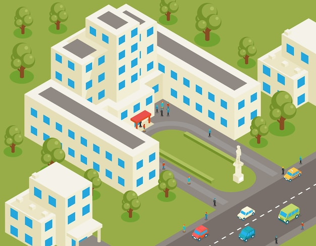 Universidade plana 3d isométrica ou prédio da faculdade. casa de estudante e arquitetura, rua e parque, propriedade de estrutura, árvore e estrada, Vetor Premium
