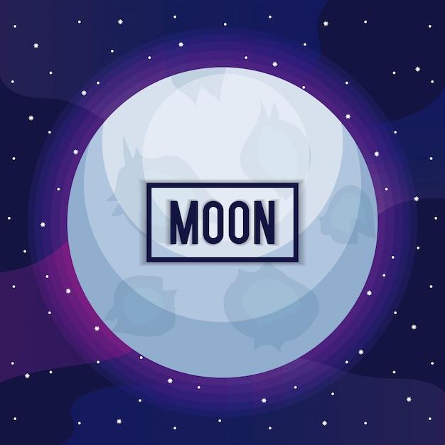 Universo da lua com o ícone de estrela Vetor Premium