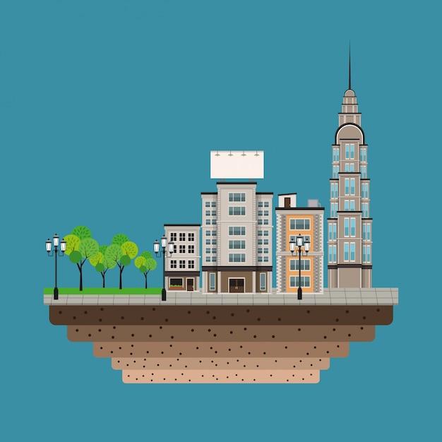 Urban building street lamp post blue background Vetor Premium