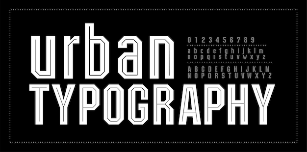 Urban modern alphabet font number fontes de tipografia Vetor Premium