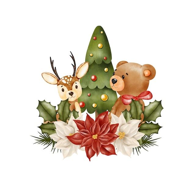 Ursinho de pelúcia e veado sob a árvore de natal, banner Vetor Premium