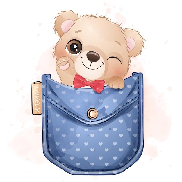 Ursinho fofo sentado dentro da ilustração de bolso Vetor Premium