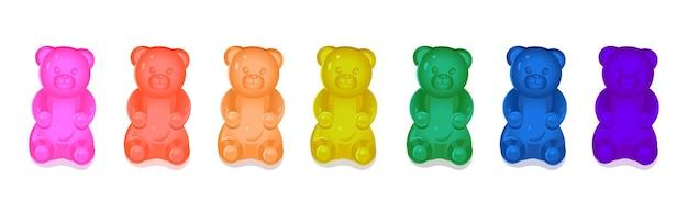 Ursinhos de goma coloridas para crianças. ilustração de desenho vetorial Vetor Premium