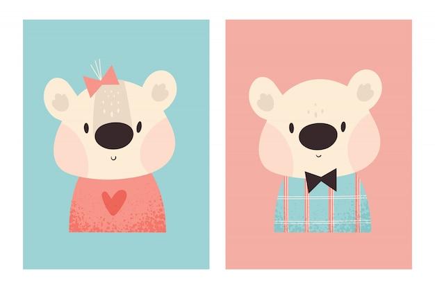 Ursinhos de pelúcia fofos menino e menina. animal adorável bebê. ilustração infantil Vetor Premium