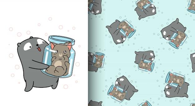Urso adorável padrão sem emenda é levantar o gato dentro da garrafa Vetor Premium