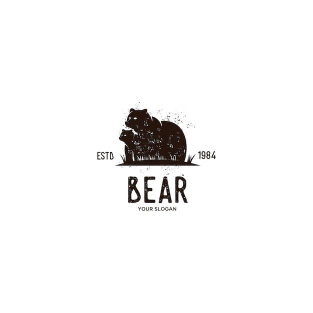Urso animal vintage logotipo Vetor Premium