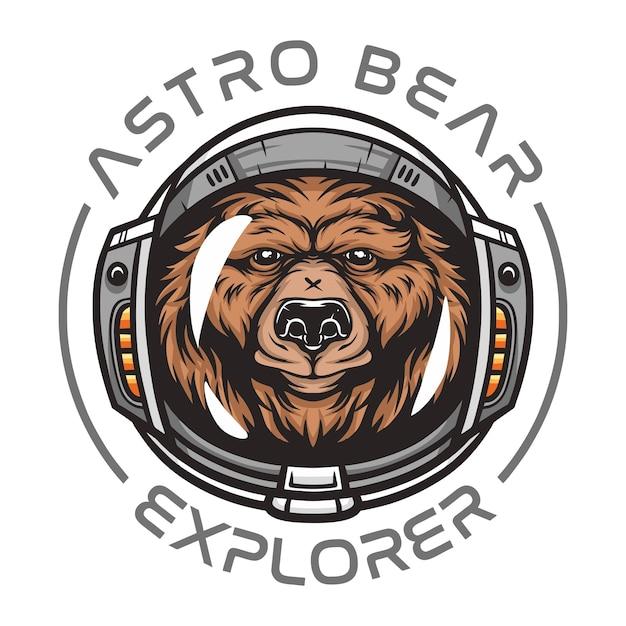 Urso astronauta, animal selvagem vestindo traje espacial ilustração de animais selvagens para camiseta Vetor Premium
