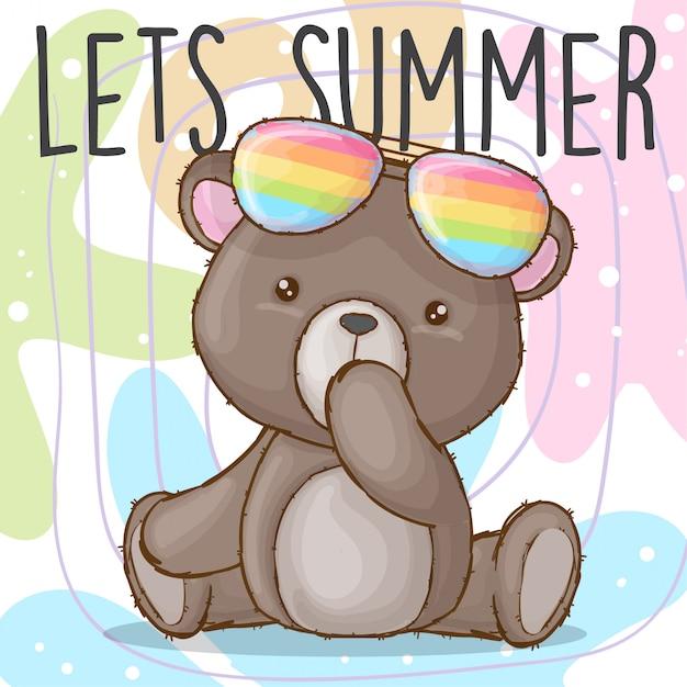 Urso bebê fofo com óculos de arco-íris mão desenhada animal Vetor Premium