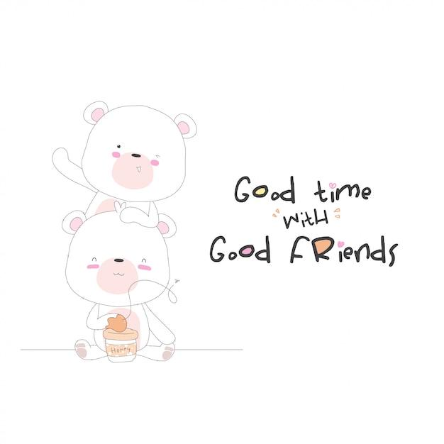 Urso bebê fofo desenhos animados comendo mel Vetor Premium