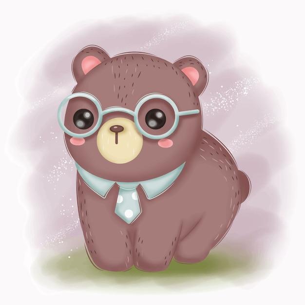 Urso bebê inteligente com ilustração de óculos para decoração de berçário Vetor Premium