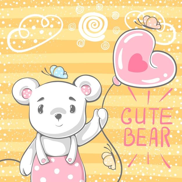 Urso bonito com balão de ar. Vetor Premium