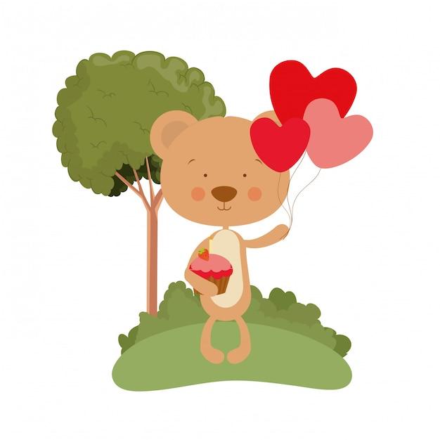 Urso bonito com balões de hélio Vetor Premium