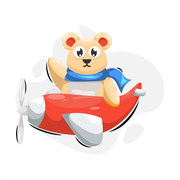 Urso bonito com desenhos animados Vetor Premium