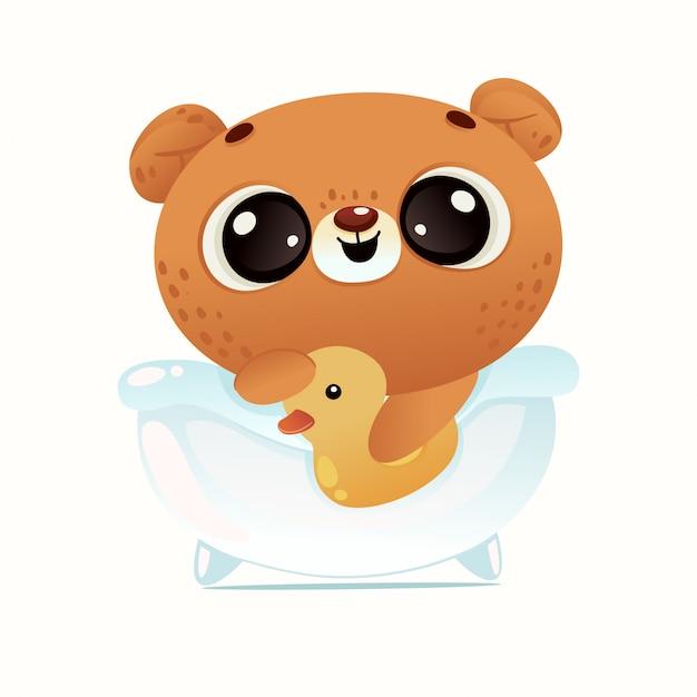 Urso bonito do chuveiro de bebê Vetor Premium