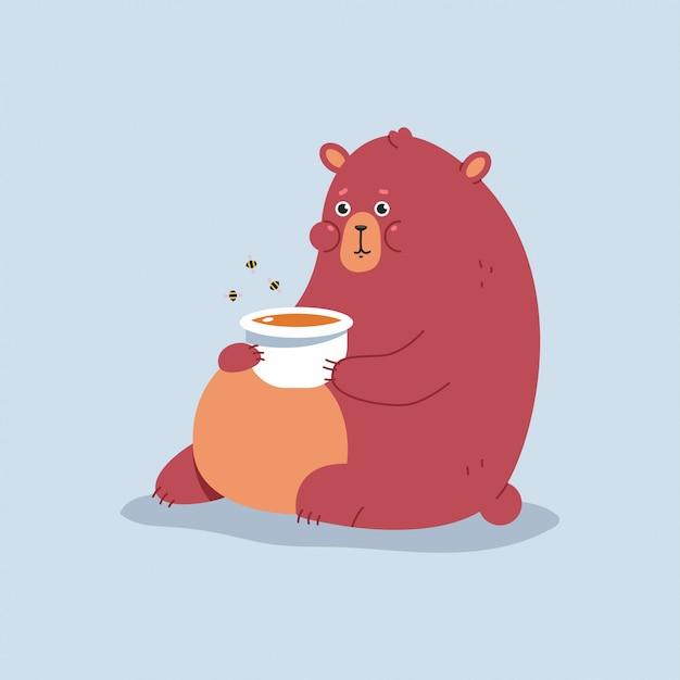 Urso Bonito Dos Desenhos Animados Com O Personagem De Desenho Animado De Mel Isolado Vetor Premium
