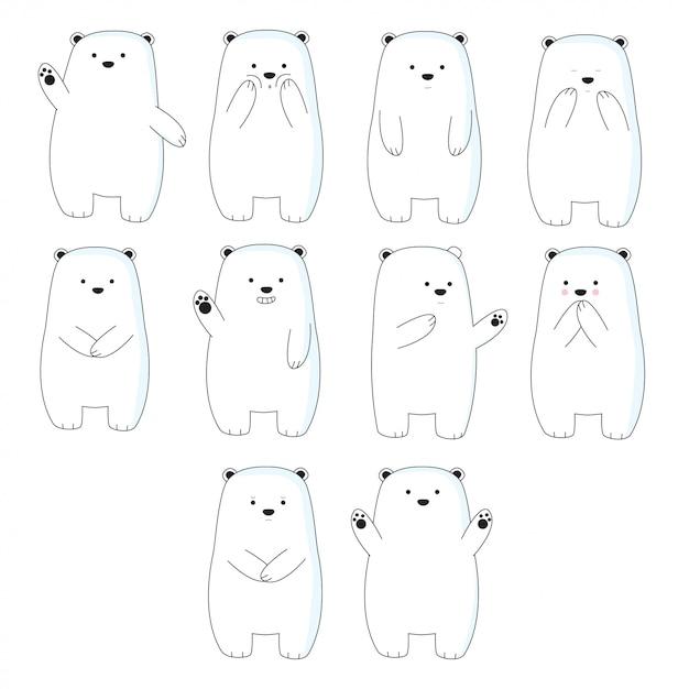 Urso bonito dos desenhos animados mão desenhada estilo Vetor Premium