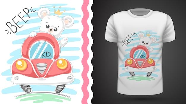 Urso bonito e idéia de carro para impressão t-shirt Vetor Premium