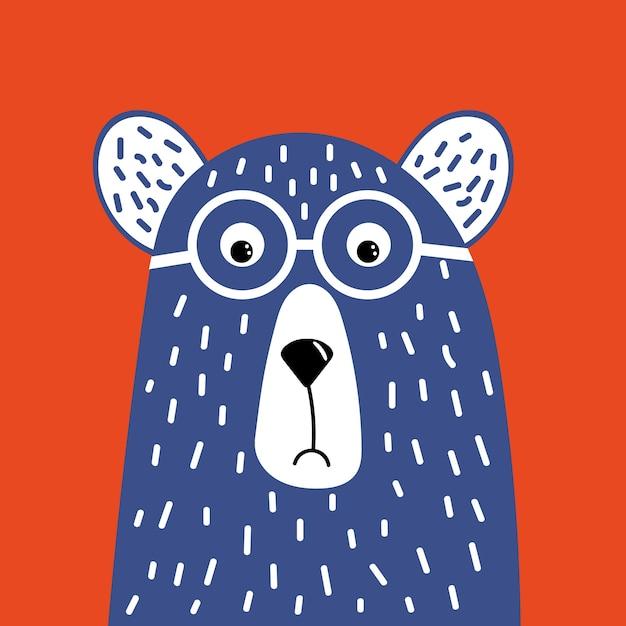 Urso bonito hipster com óculos. Vetor Premium