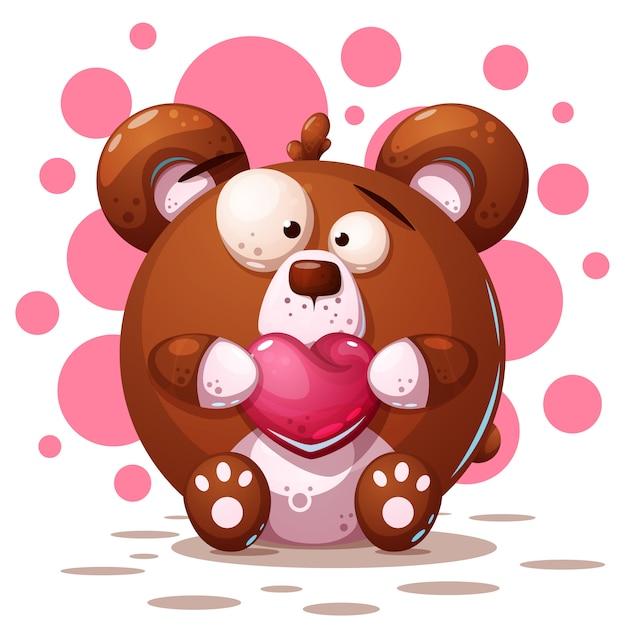Urso bonito, louco - ilustração dos desenhos animados Vetor Premium