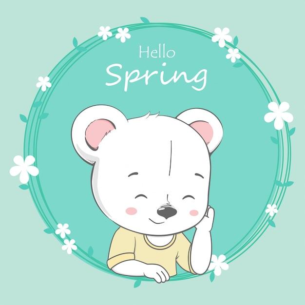 Urso Bonito Menino Ola Primavera Dos Desenhos Animados Mao