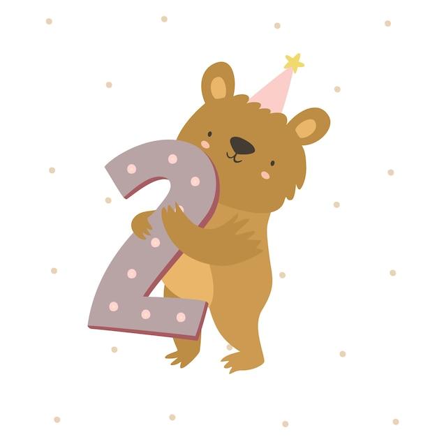 Urso bonito número dois Vetor grátis