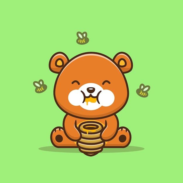 Urso bonito que come honey with bee cartoon icon illustration. alimento animal ícone conceito isolado premium. estilo cartoon plana Vetor Premium