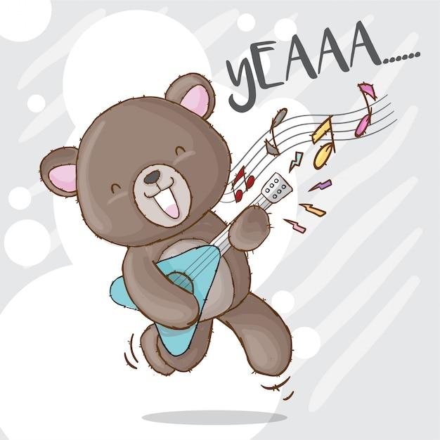 Urso bonito que joga o animal tirado mão da guitarra da rocha Vetor Premium