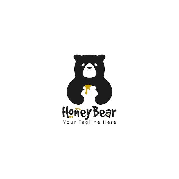 Urso bonito segurar enorme frasco mel silhueta preto logotipo mascote cartoon personagem ilustração. vetor Vetor Premium