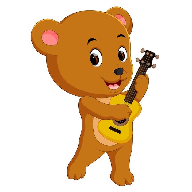 Urso Bonito Tocando Violao Vetor Premium