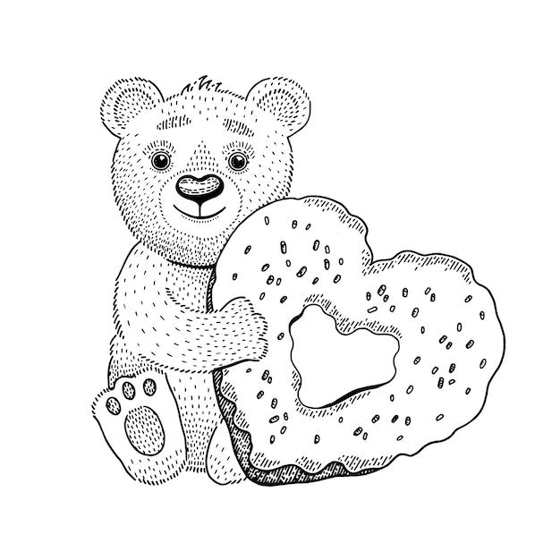 Urso brinquedo com donut de coração. Vetor Premium