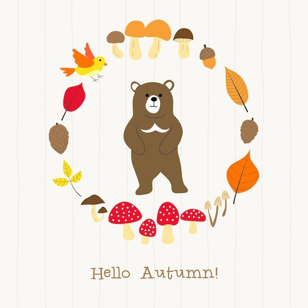Urso com cartão de moldura de outono Vetor Premium