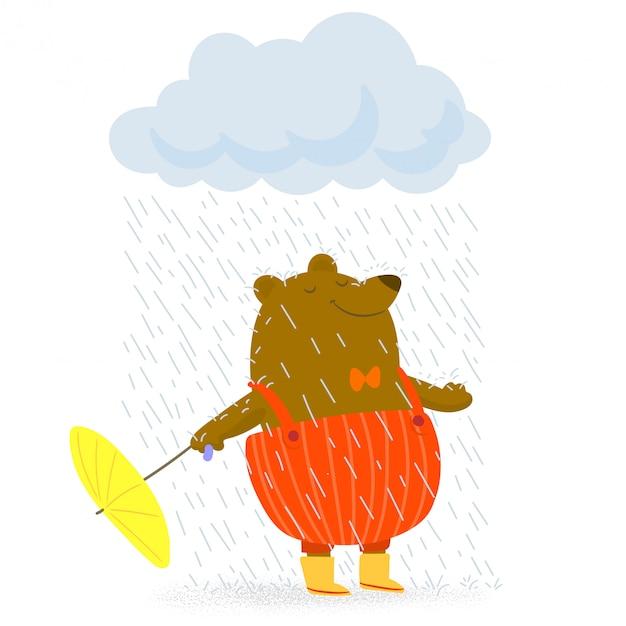 Urso com guarda-chuva em tempo chuvoso Vetor Premium