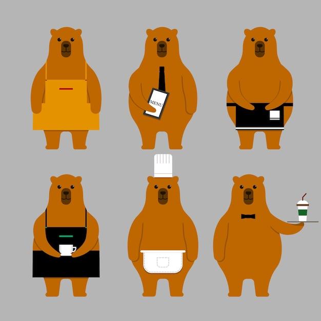 Urso conjunto de caracteres Vetor Premium