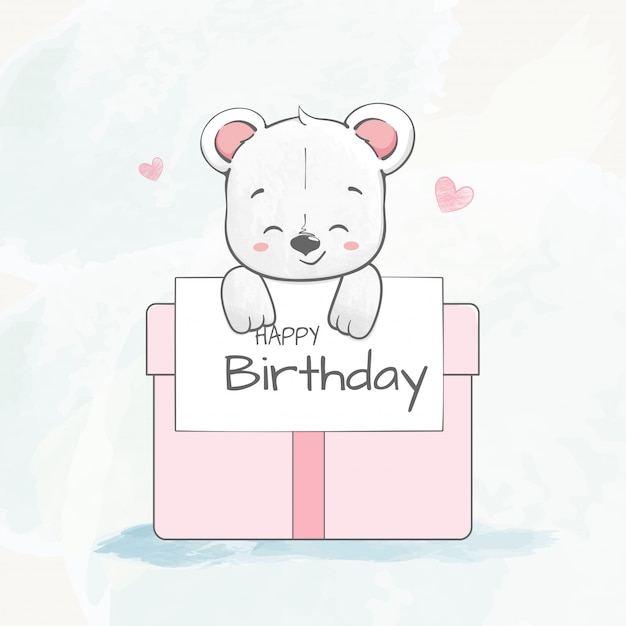 Urso de bebê fofo com mão de desenhos animados de cor de caixa de presente desenhada Vetor Premium