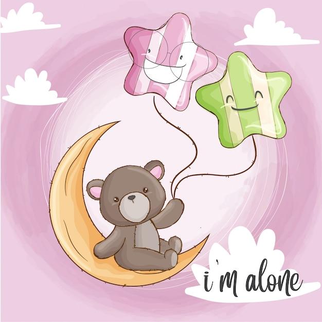 Urso de bebê na lua mão desenhada animal Vetor Premium