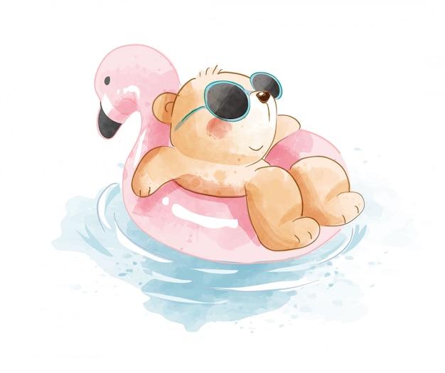 Urso de desenho animado na ilustração do anel de natação Vetor Premium
