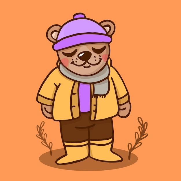 Urso de outono Vetor Premium