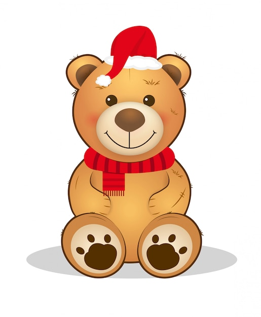 Urso de peluche bonito do natal animal dos desenhos animados. Vetor Premium
