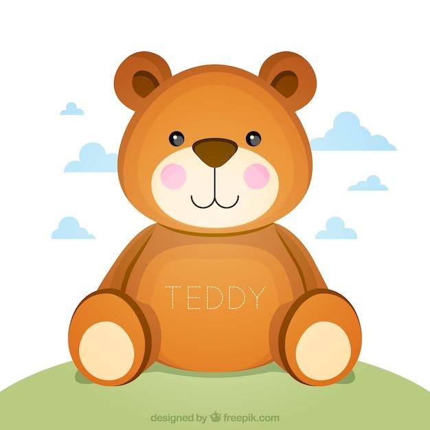 Urso de peluche bonito Vetor Premium