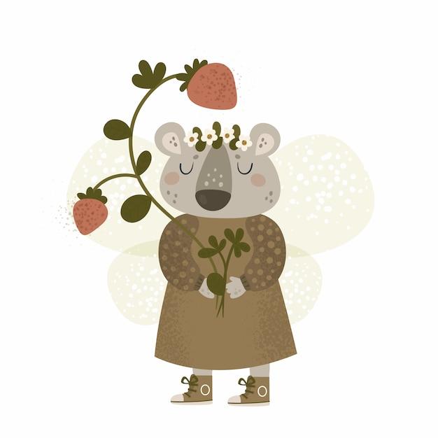 Urso de pelúcia animal dos desenhos animados com morango Vetor Premium