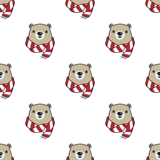 Urso de pelúcia cachecol polar sem costura padrão Vetor Premium