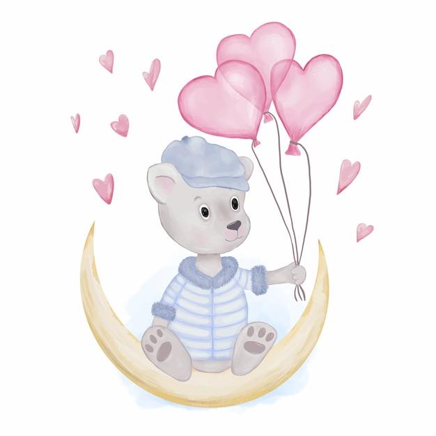 Urso de pelúcia com balões de coração Vetor Premium